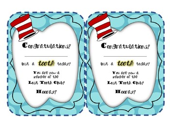 Dr. Seuss Inspired Classroom Tooth Chart