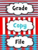 Dr. Seuss Inspired Copy, Grade, File Label for Plastic Bin