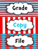 Dr. Seuss Inspired Copy, Grade, File Label for Plastic Bin