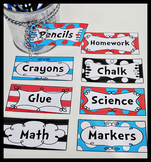 Dr Seuss Inspired Editable 4 x 2  Classroom Tags Labels (1 Sheet)