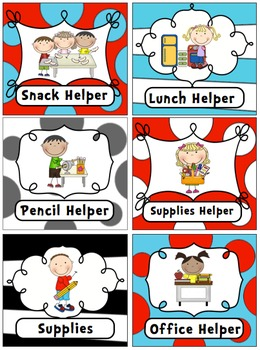 Dr Seuss Inspired Editable Classroom Jobs Helpers - 38 cards