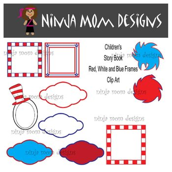 Colorful Red and Blue Childrens Story Book Frames Clip Art