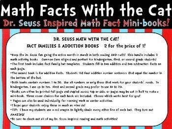 Dr. Seuss Inspired Math with the Cat Fact Families and Addition Fact Mini Books