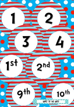 Dr Seuss Inspired Ordinal Numbers - First to Twentieth with BONUS