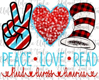 Dr. Seuss Inspired Peace, Love, Read with Buffalo Plaid Hat Clipart