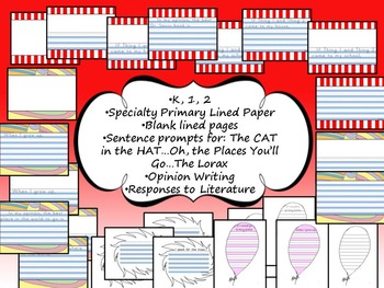 Dr. Seuss Inspired Primary Lined Writing Paper BUNDLE 26 p. Opinion & more K 1 2