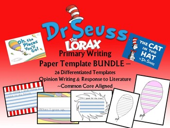 Dr. Seuss Inspired Primary Lined Writing Paper BUNDLE 26 p