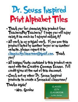 Dr. Seuss Inspired Print Alphabet Tiles