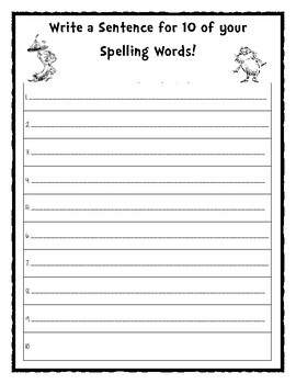 Dr. Seuss Inspired Spelling Sheets