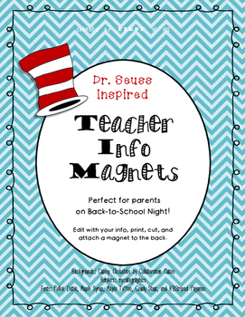 Dr. Seuss Inspired Teacher Info Magnets