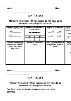 Dr. Seuss Journey's Common Core Homework