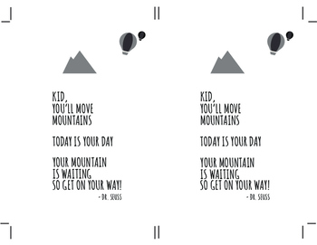 Dr. Seuss - Kid You'll Move Mountains - Bookmark Template