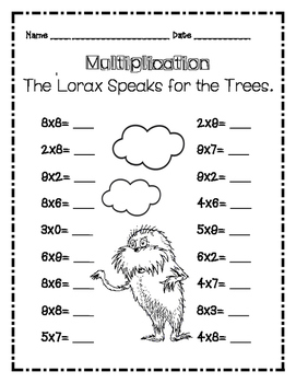 Dr. Seuss Lorax Multiplication