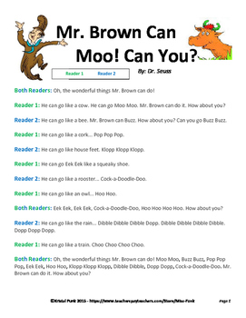 Dr. Seuss Mr. Brown Can Moo! Readers Theater