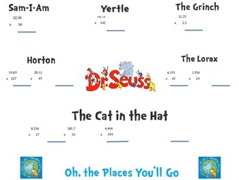 Dr. Seuss Multiplication Math Activity for Upper Grades