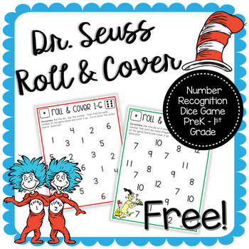 Dr Seuss Number Recognition Roll and Cover Freebie