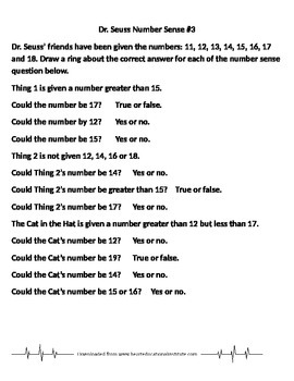 Dr. Seuss Number Sense 3