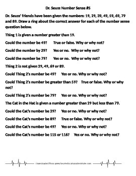 Dr. Seuss Number Sense 5