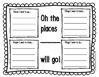 Dr. Seuss Oh The Places You'll Go Bilingual Writing Activity