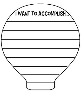Hot Air Balloon Goal Setting 3D Craftivity