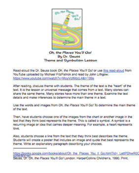"""Dr. Seuss """"Oh, the Places You'll Go"""" Theme and Symbolism Lesson and Materials"""