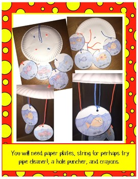 """Dr. Seuss """"One Fish Two Fish Red Fish Blue Fish"""" Paper Plate Mobile Craft"""