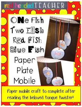 "Dr. Seuss ""One Fish Two Fish Red Fish Blue Fish"" Paper Pla"
