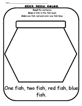 graphic about One Fish Two Fish Printable known as Dr. Seuss A single Fish, 2 Fish, Pink Fish, Blue Fish Worksheet