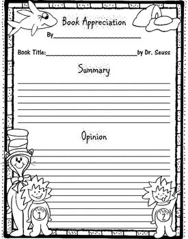 Dr. Seuss Opinion/ Book Appreciation Writing Template
