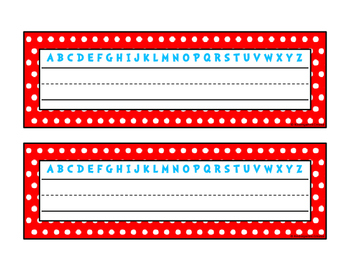 Red & Blue Dotted Name Plates