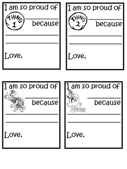 Dr. Seuss Positive Notes  to Print and Go