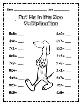 Dr. Seuss Put Me in the Zoo Multiplication