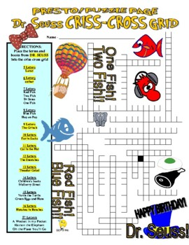 Dr Seuss Puzzle Page (Wordsearch and Criss-Cross)