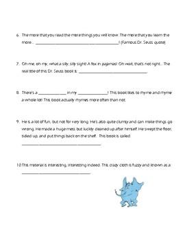 Dr. Seuss Puzzle Page of Riddles