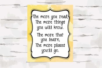 Dr Seuss Quote, The more you Read, Yellow background, 8x10 jpg