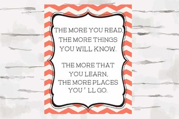 Dr. Seuss Quote, The more you read, Chevron Theme, Nautical Theme, 8x10