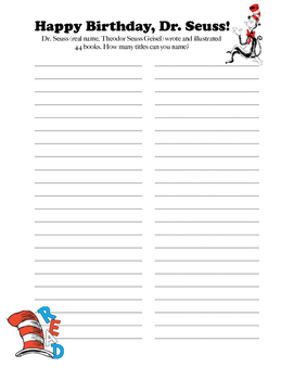 Dr. Seuss Guess the Quotes and Titles!