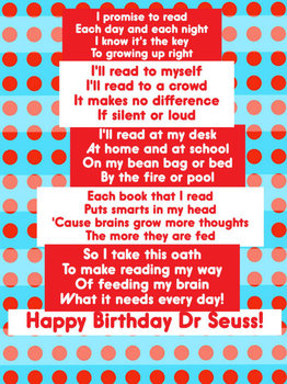 Dr. Seuss Read Across America Bookmark