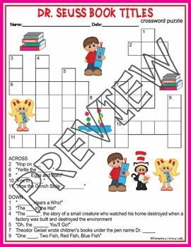 Dr. Seuss Activities Read Across America Crossword Puzzle Word Search- BUNDLE