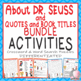 Dr. Seuss Activities Read Across America Crossword Puzzle Word Search- BUNDLE