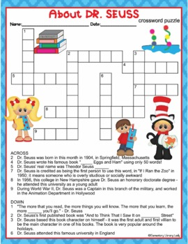 Dr. Seuss Activities Read Across America Crossword Puzzle & Word Search Find