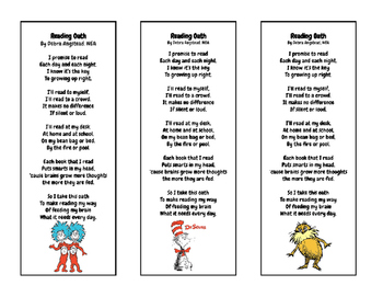 Dr. Seuss Reader's Oath Bookmark