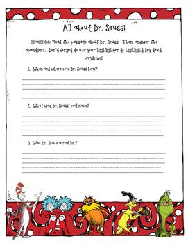 Dr. Seuss Reading Comprehension Activity