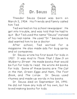 Dr. Seuss Reading Comprehension with Writing Extension Second Grade