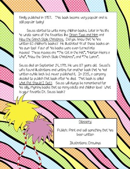 Dr. Seuss Reading Passage includes Writing and Comprehension Questions