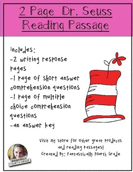Dr. Seuss Reading Passage includes Writing and Comprehensi