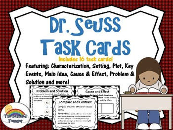 Dr. Suess Close Read Writing Task Card Game Activities and Small Group Centers