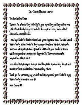 Dr. Seuss Recipe Cards
