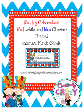 Celebrate Reading Red, White, and Blue Chevron Themed Incentive Punch Cards
