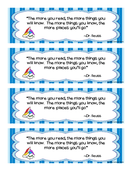 Dr. Seuss - Reward Bookmarks for Reading